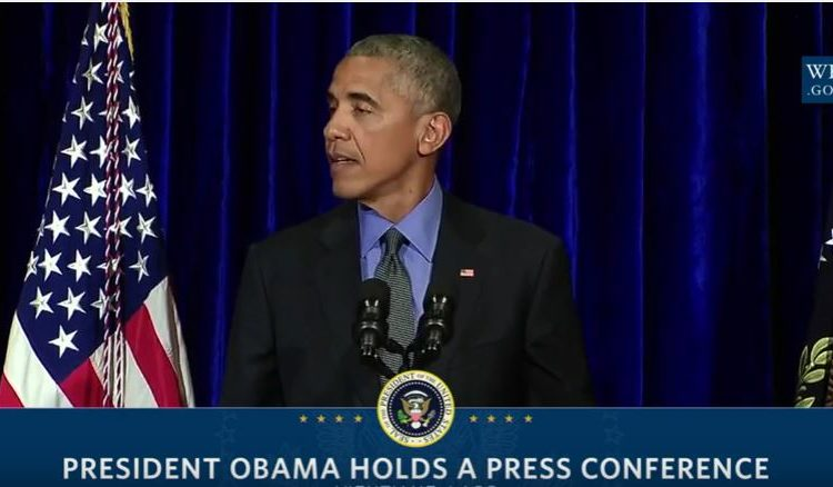President Obama at a press conference in Laos